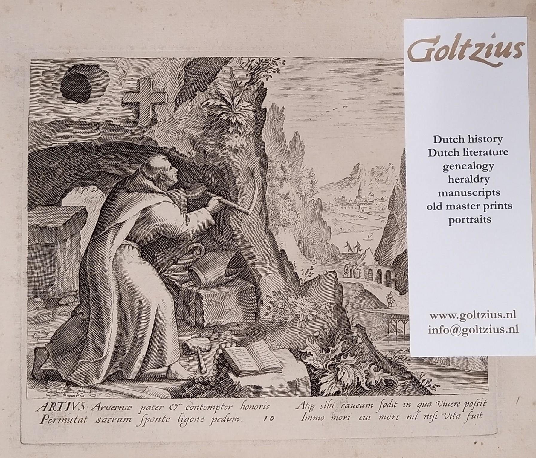 Unknown master, after Sadeler, Raphael I (1560-1632) and Sadeler, Johannes I (1550-1600), after Vos, Maarten de (1532-1603) [M]ARTIVS ... (SYLVAE SACRAE MONUMENTA... ANACHORETARUM)