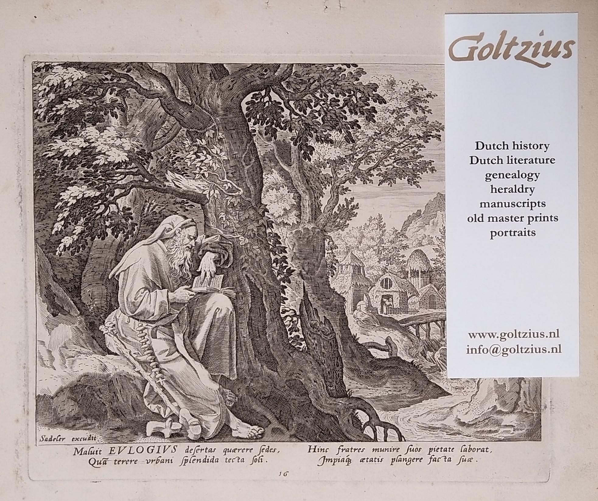 Sadeler, Raphael I (1560-1632) and Sadeler, Johannes I (1550-1600), after Vos, Maarten de (1532-1603) EULOGIUS (nr. 16 from  the serie SOLITUDO SIVE VITAE PATRUM EREMICOLARUM)