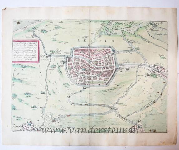 Leyda, Batavorum Lugdunum, vulgo Leyden. Antique colored map of Leiden.
