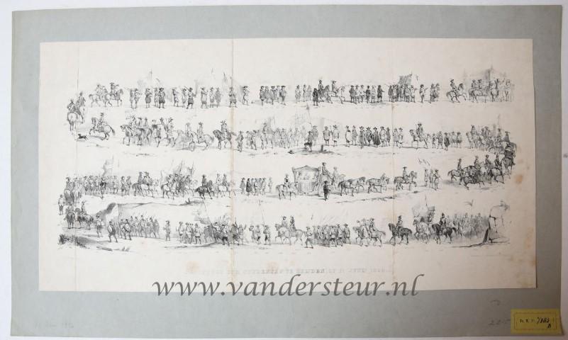 De optogt der studenten te Leijden, op 11 junij 1850. (De optocht der studenten te Leiden op 11 juni 1850).