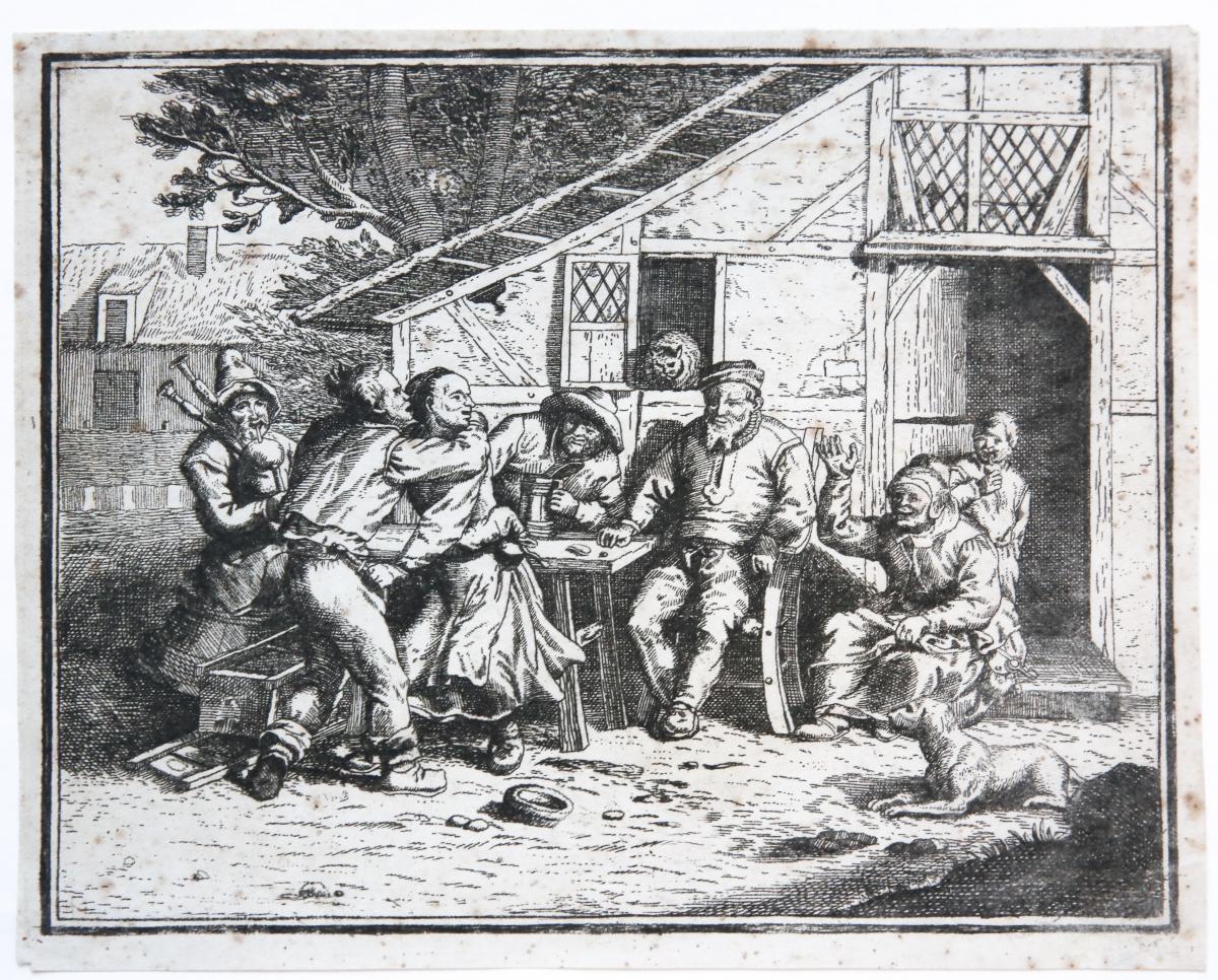 Peasants in front of an inn (boeren voor een herberg).