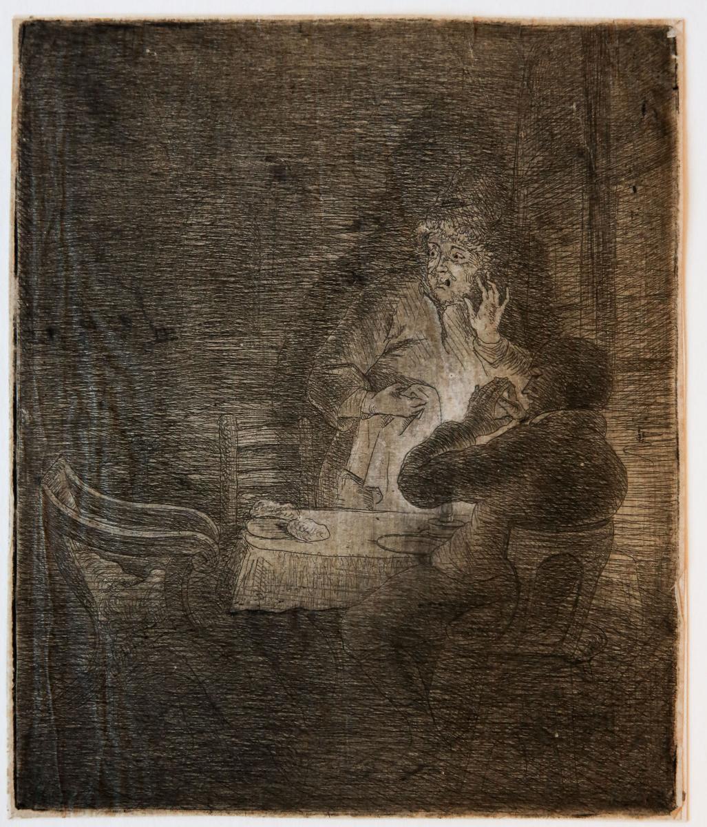 Christ dissappears in front of two disciples during meal in Emmaus (Christus verdwijnt voor ogen van twee leerlingen tijdens maaltijd in Emmaus).