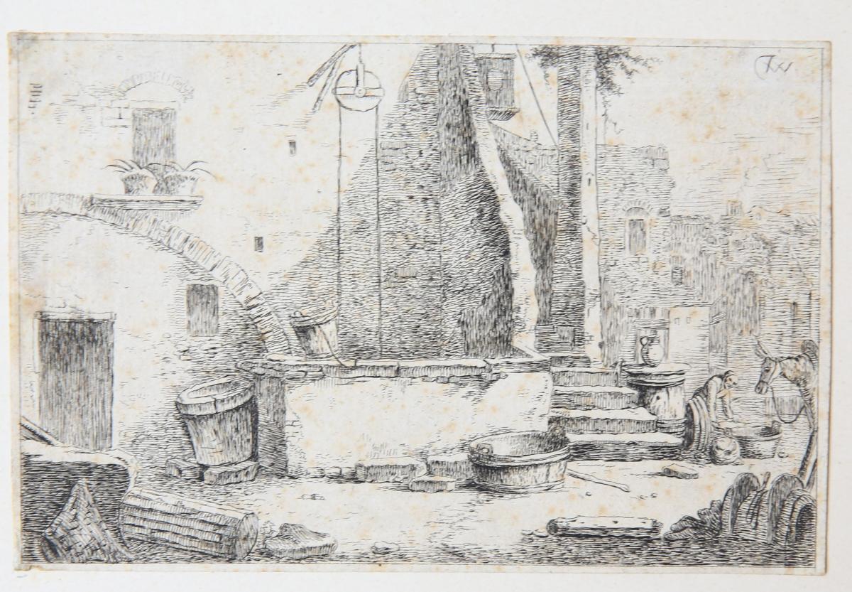 The well [set: Landscape scenes with ruins] (de put met vrouw en ezel).