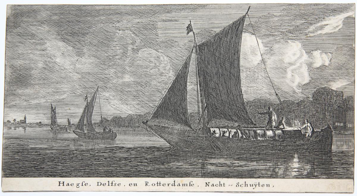 Haegse Delftse en Rooterdamse Nacht-Schuÿten [set title: Various ships and views of Amsterdam].
