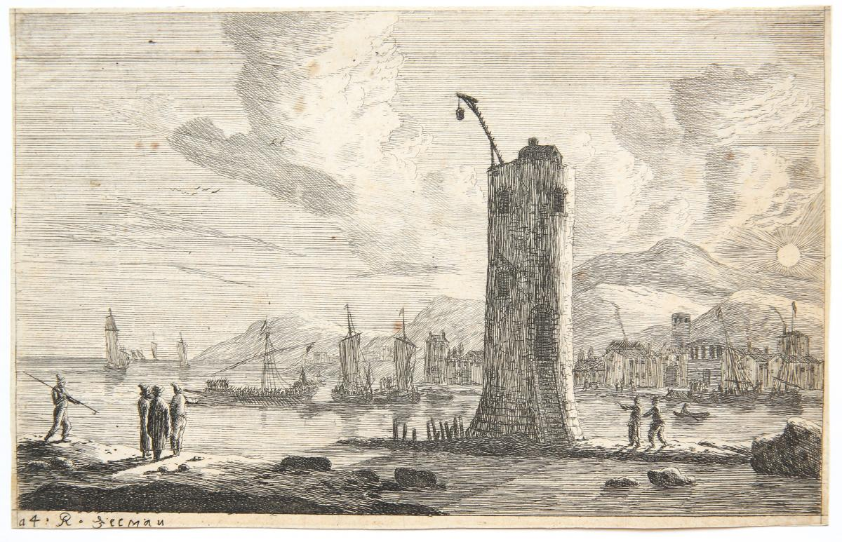 Harbour scene with a tower [set title: Various seaports].