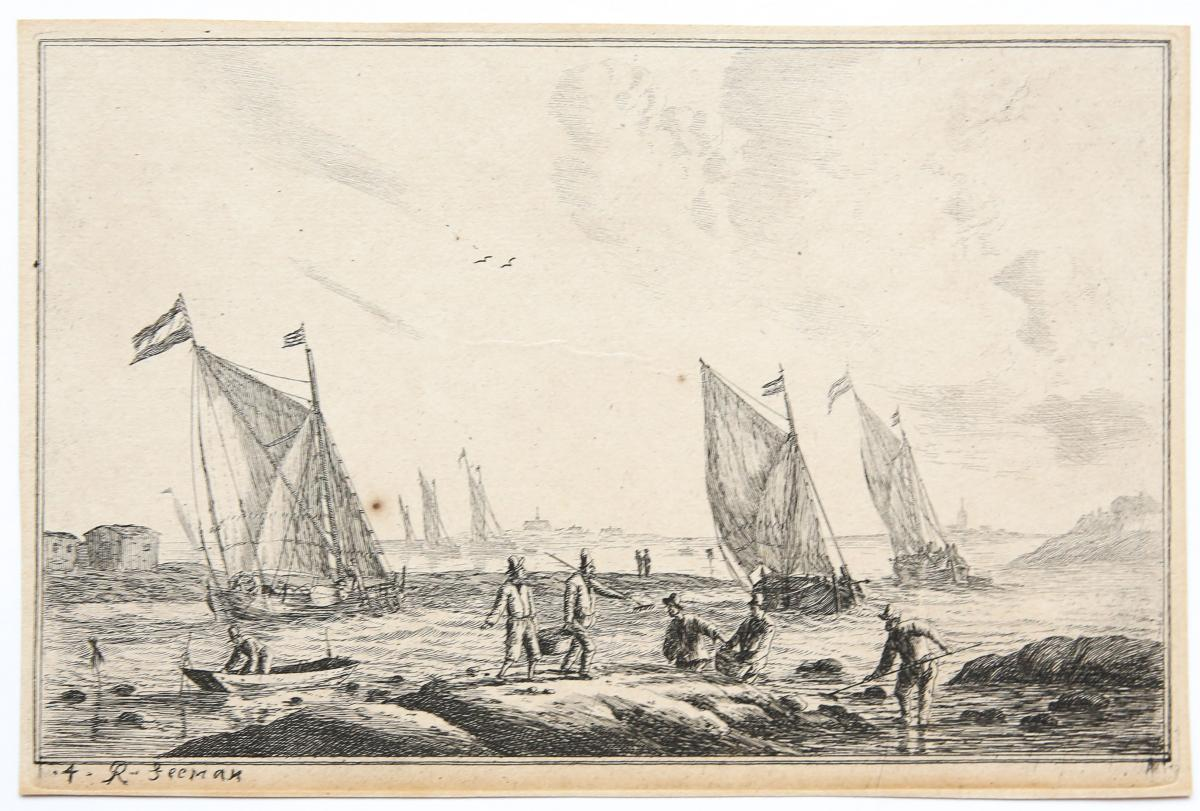 View of inland waterway with fishermen, in the distance Haarlem (?) [set title: Inland Waterways].