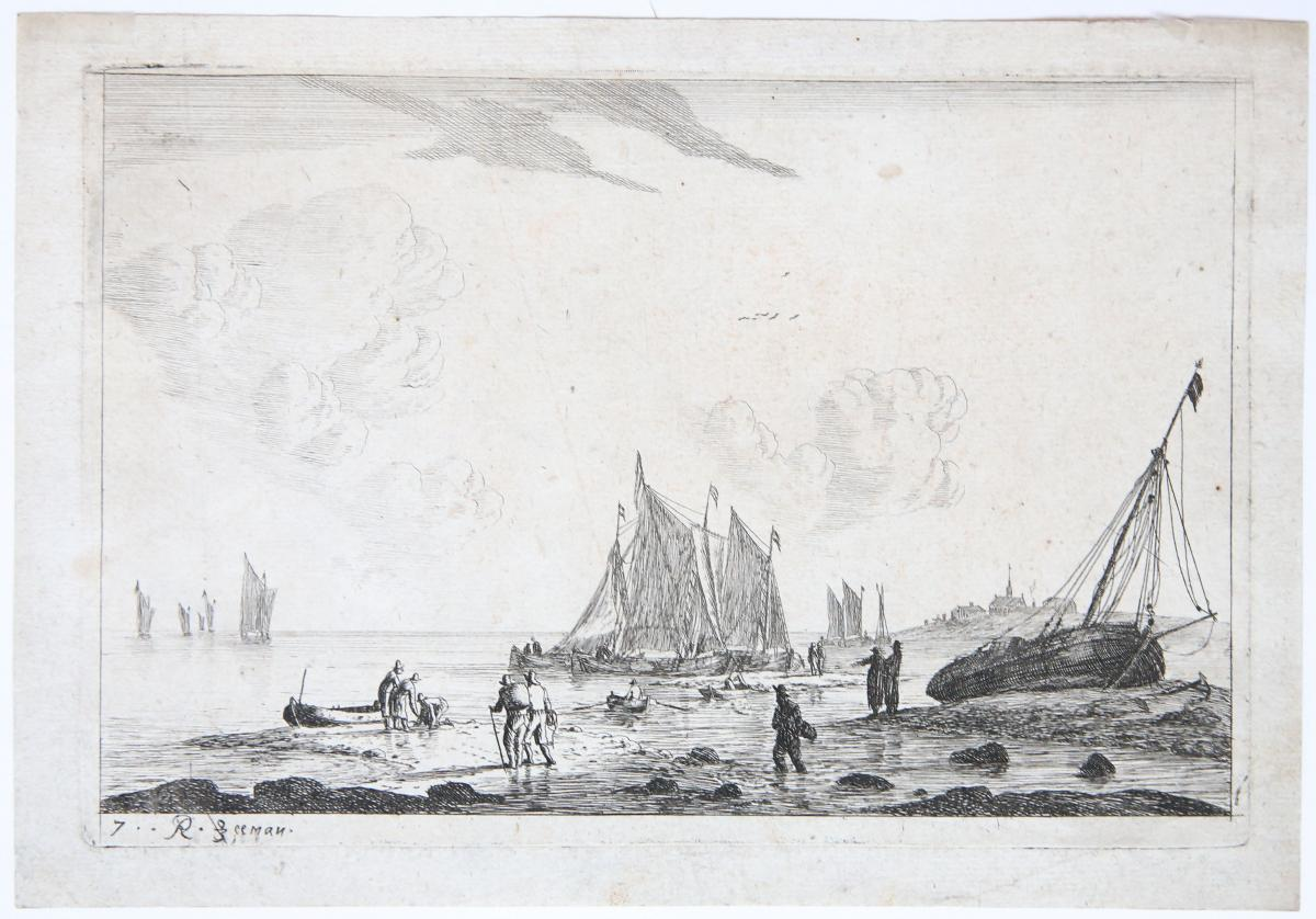 Beach scene with ketches and other fishing boats [set title: Inland Waterways] (strand met boten).