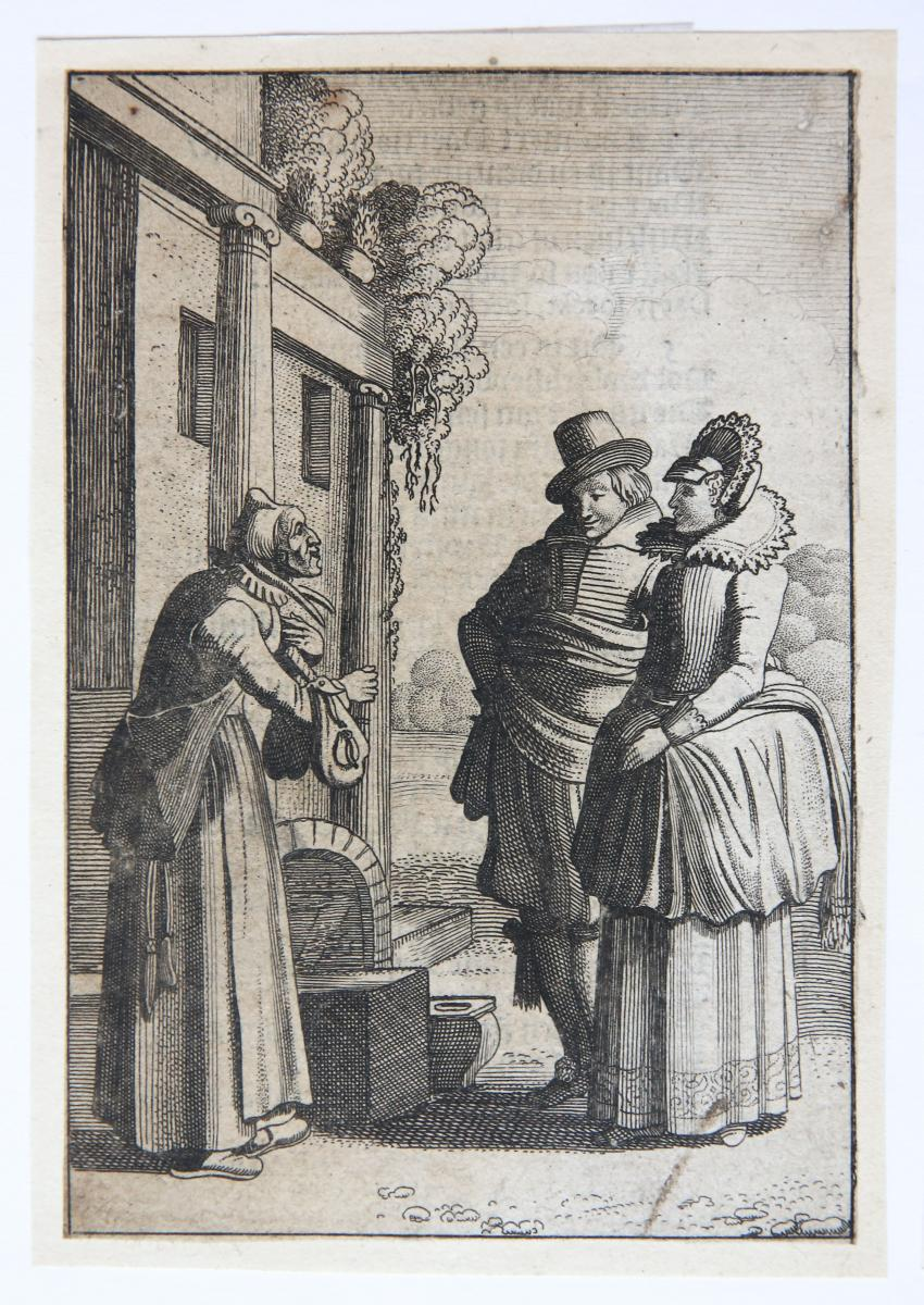 Unequal Lovers: the old woman and the young man [from set: GEBRAND ADRIAENSZ BREDERO: Alle de Spelen, 1622]