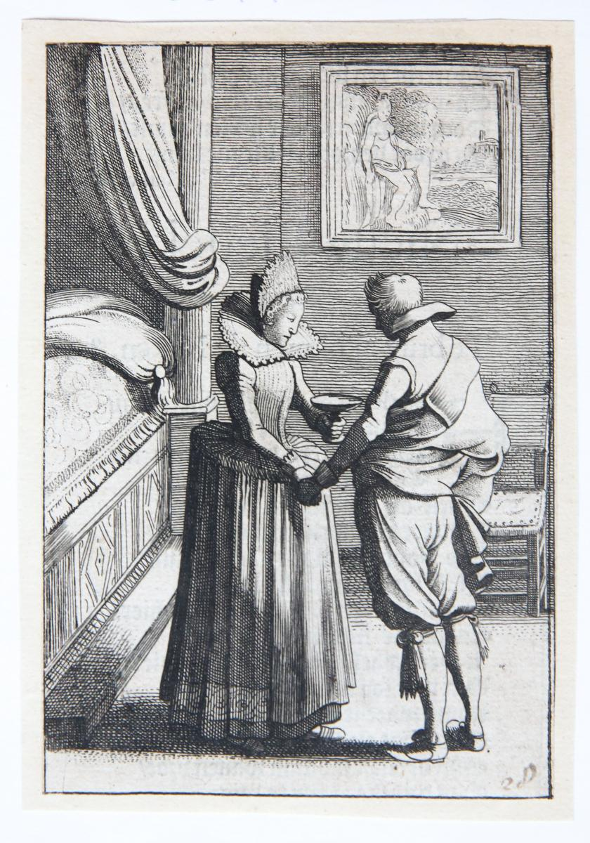 The enchanted suitor [from set: GEBRAND ADRIAENSZ BREDERO: Alle de Spelen, 1622].