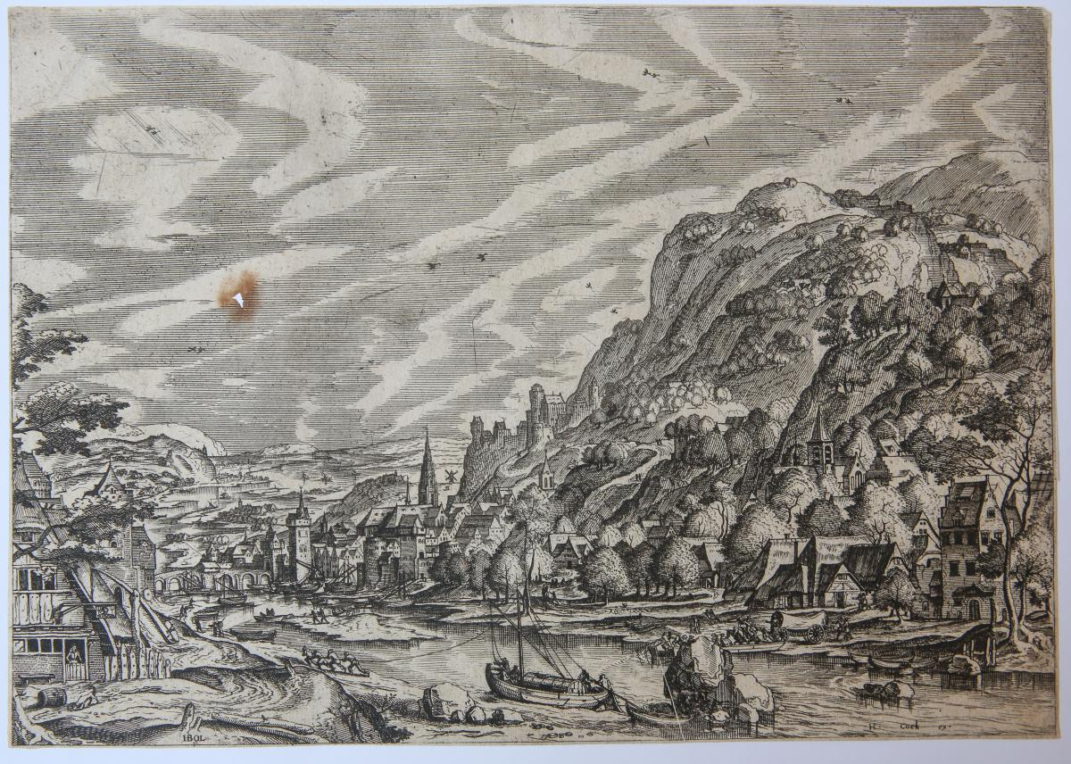 River Landscape with a Barge in the foreground (from a set of twelve plates of Landscapes with village scenes). Rivierlandschap met aak.