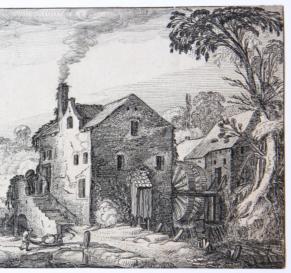 Water-mill near a village [Set title: Landscapes and ruins]/Watermolen bij een dorp.