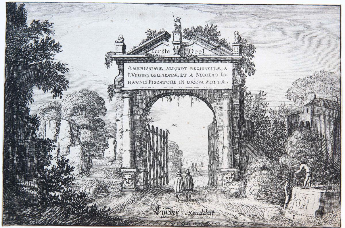 Amenissimae aliquot regiunculae... [Set frontispiece]/Frontispice van boek met 26 landschapsetsen.