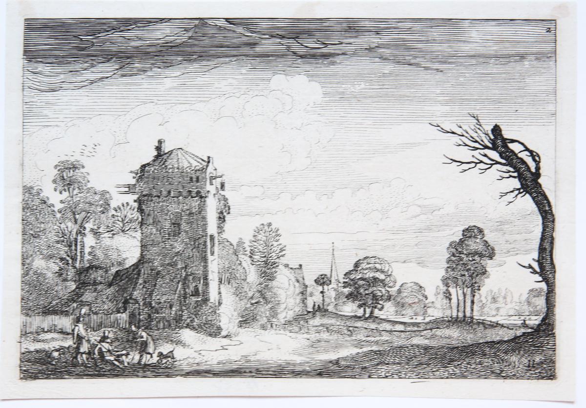 Farm built against a square tower [Set title: Amenissimae aliquot regiunculae...]/Boerderij met vierkante toren.