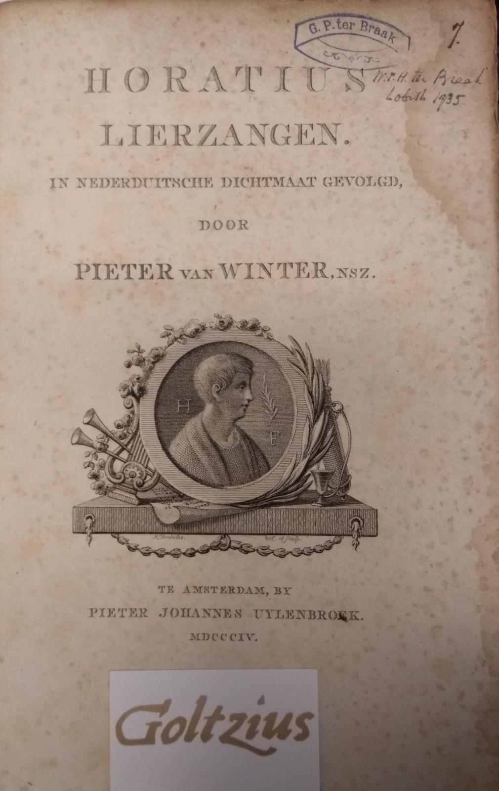 Pieter van Winter, NSZ. Horatius lierzangen in Nederduitsche dichtmaat gevolgd