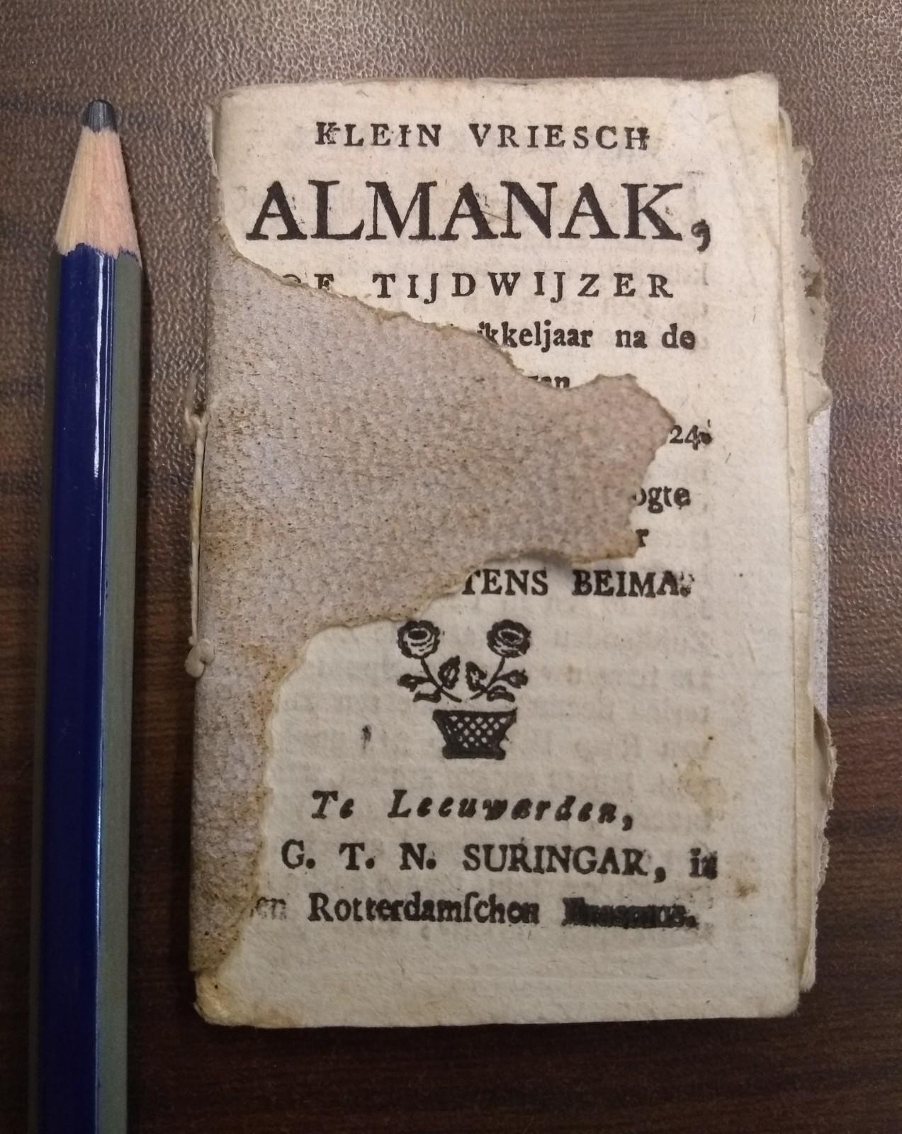 BEIMA, ELTE MARTENS, Klein Vriesch Alamanak, of tijdwijzer voor het Schrikkeljaar na de Geboorte van Jezus Christus, 1824. Berekend op de Poolshoogte van Leeuwarden, door Elte Martens Beima.