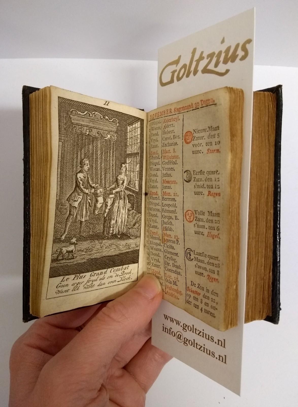 De naauwkeurige hollandsche almanach voor 't jaar 1763. Met fraaije printverbeeldingen vercierd, en verrykt mer alles wat tot een volmaakte Almanach behoord;mitsgaders veele nutte byzonderheden, nooit voor dezen gedrukt.