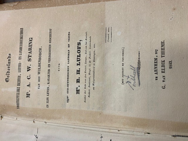 LULOFS, B.H., Gelderlands voortreffelijke dichter. letter- en landhuishoudkundige Mr. A.C. W. Staring van den Wildeborch, in zijn leven, karakter en verdiensten geschetst