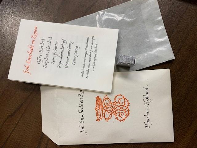 Joh. Enschede en Zonen, relatiegeschenk, present for their relations, drukkersmerk van Enschede