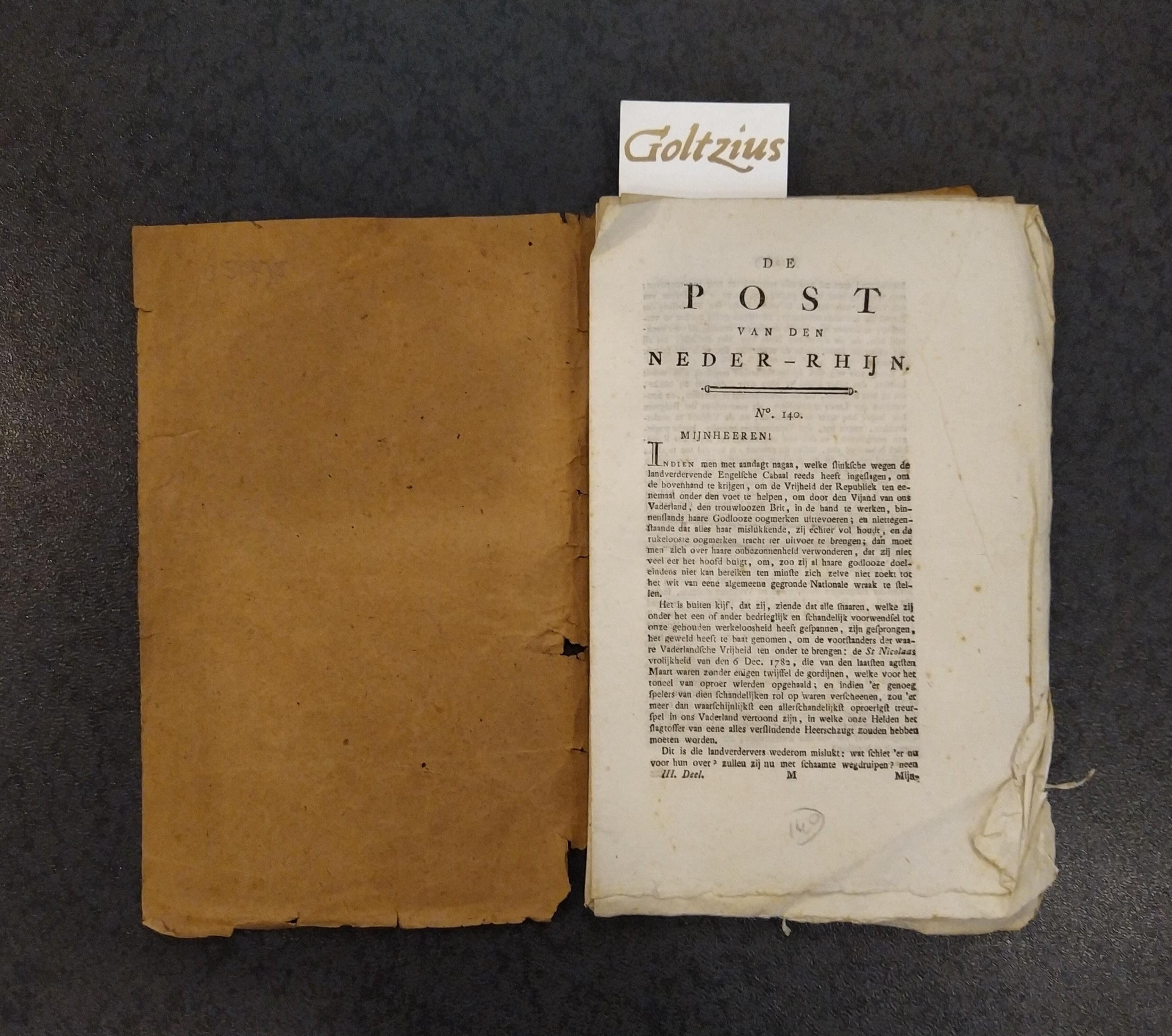 'T HOEN, P., Collection of 9 issues of De post van den Neder-Rhijn.