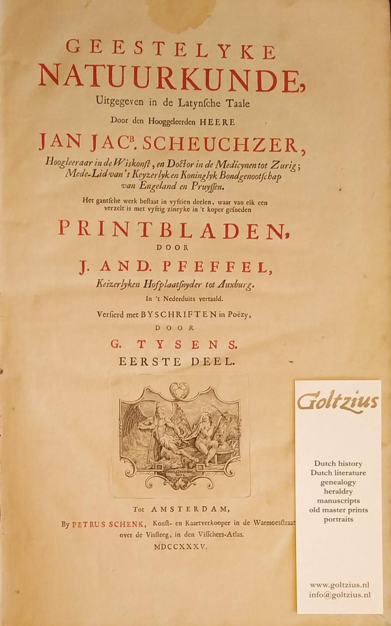 SCHEUCHZER, J.J., Geestelyke natuurkunde