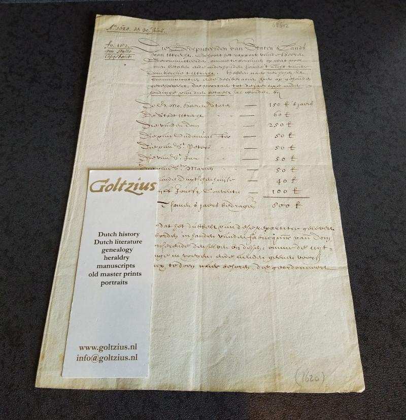 HILTEN, ANT. VAN, Anno 1620 den 30 Junii, Die Gedeputeerden van Staten 's Lands van Utrecht
