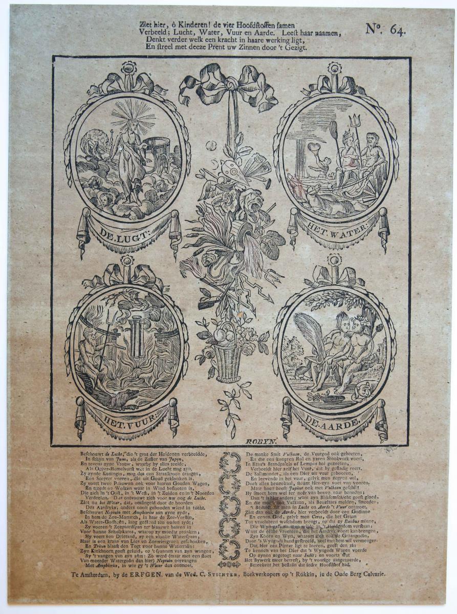 Centsprent: Ziet hier, ô Kinderen! De vier Hoofdstoffen samen / Verbeeld; Lucht, Water, Vuur en Aarde ... No. 64.