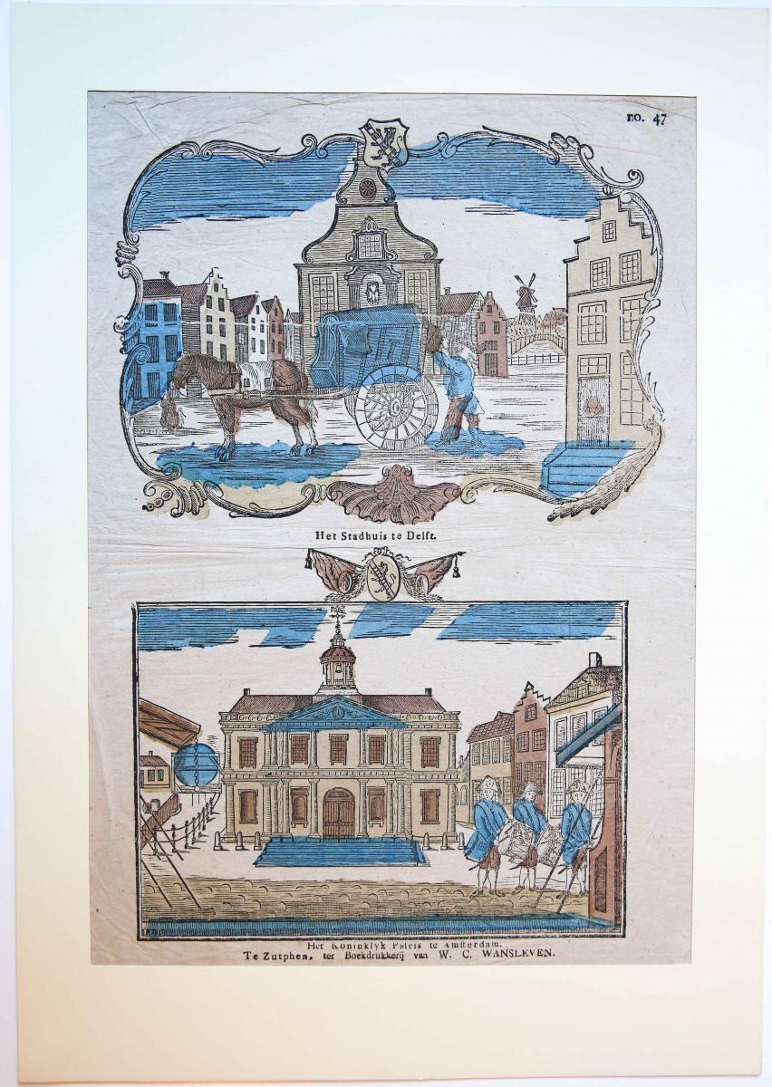 Centsprent: Het Stadhuis te Delft / Het Koninklijk Paleis te Amsterdam, No. 47.