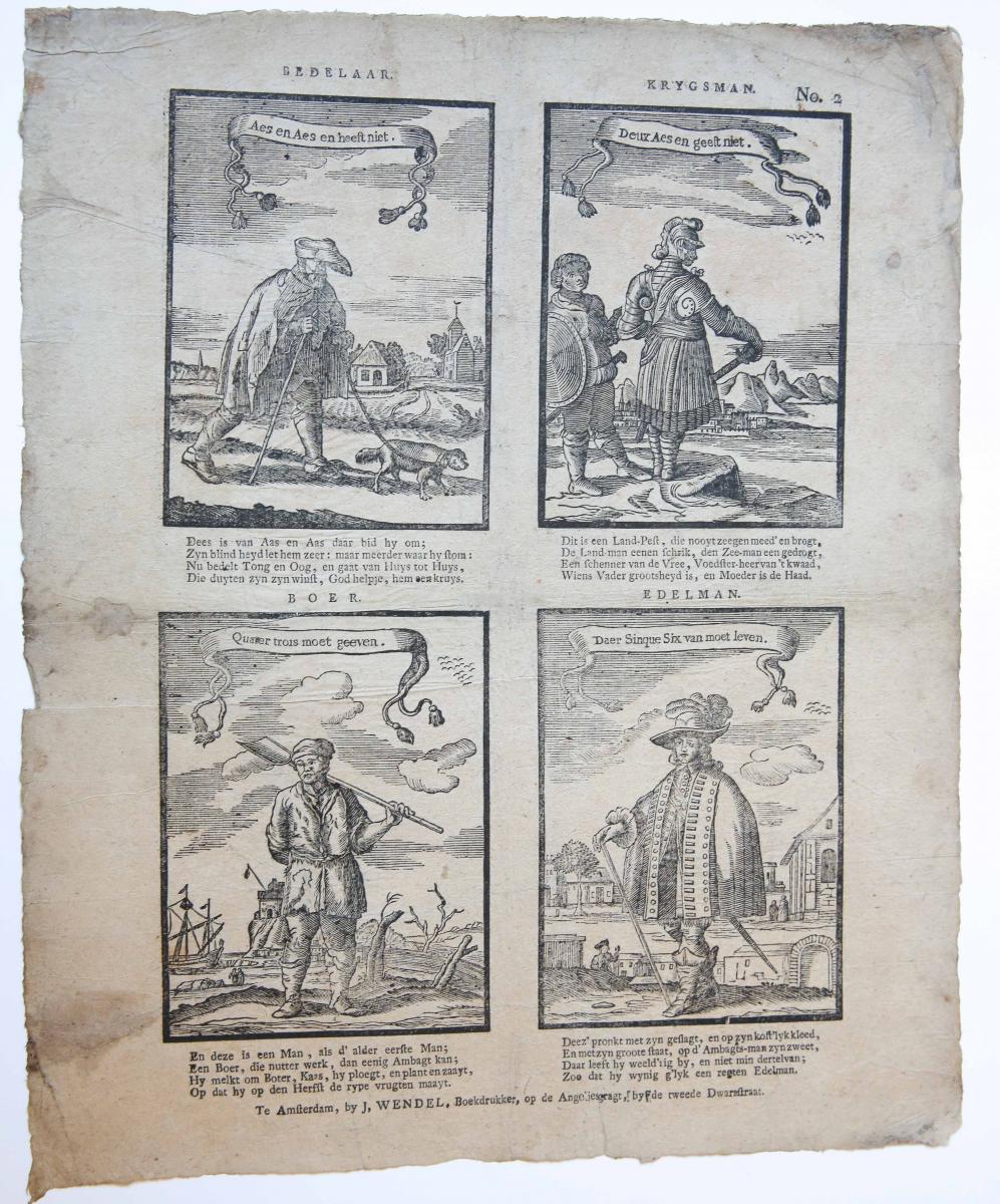 Centsprent: Bedelaar / Krygsman / Boer / Edelman, No. 2