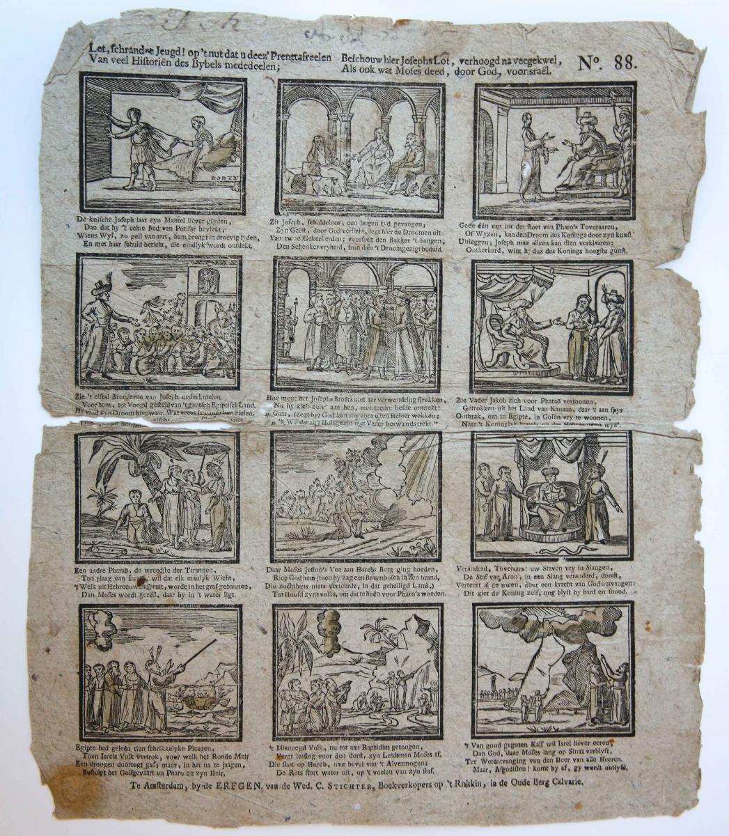 Centsprent: Let, schrandre Jeugd! Op 't nut dat u deez' prent-tafreelen / Van veel Historiën des Bybels mededelen, no. 88.