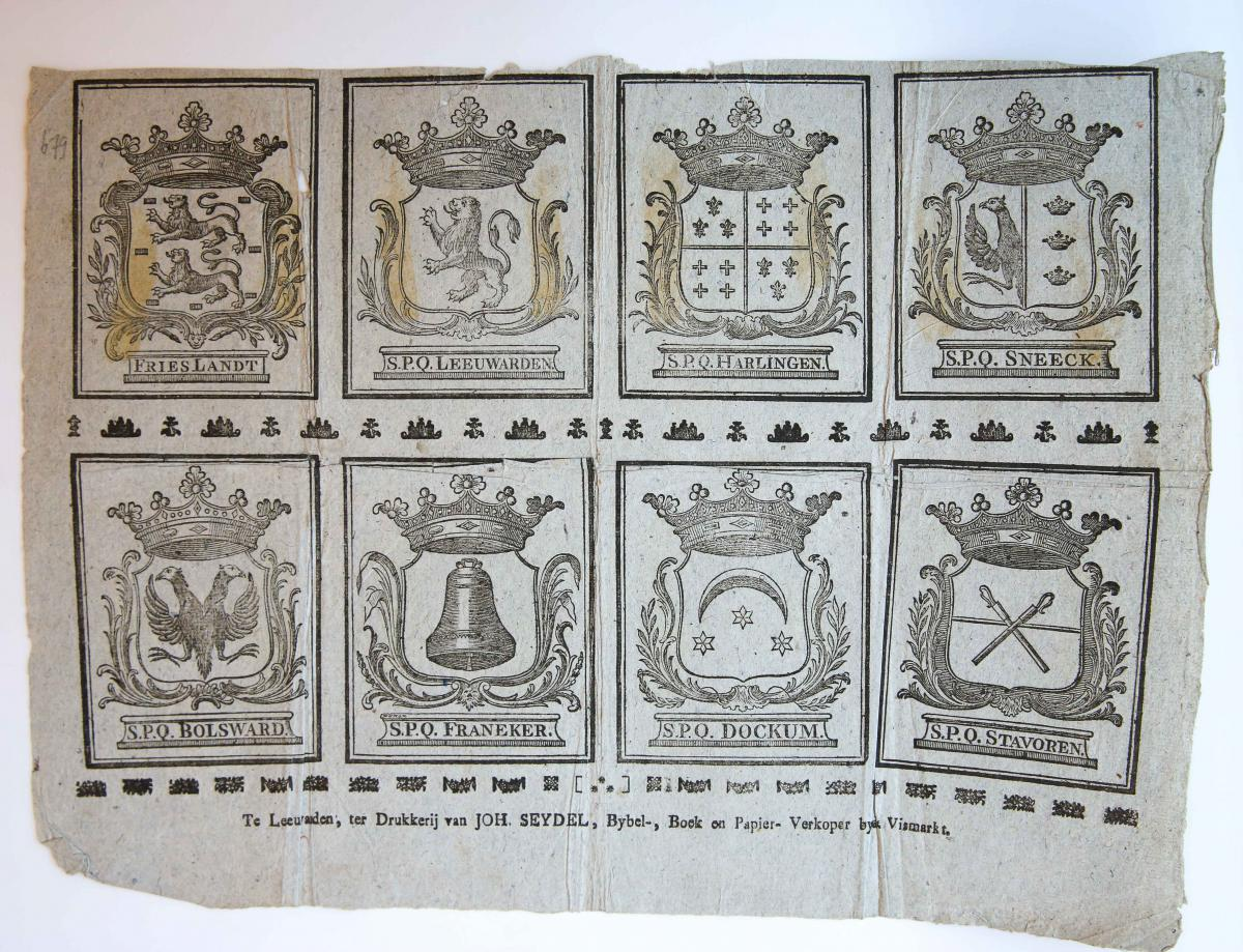 Centsprent: Coats of arms of Friesland and Frisian cities.