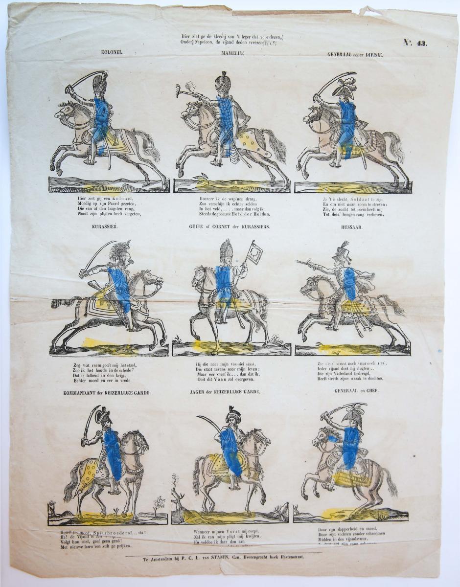 Centsprent: Hier ziet ge de kleedij van 't leger dat voor dezen, / Onder Napoleon de vijand deden vreezen. No. 43.