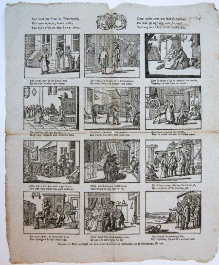 Centsprent: Hier kunt gij voor- en Tegenspoed, / Van twee opregte, brave Liên, / Van Hendrik en van Anna, zien ... V.
