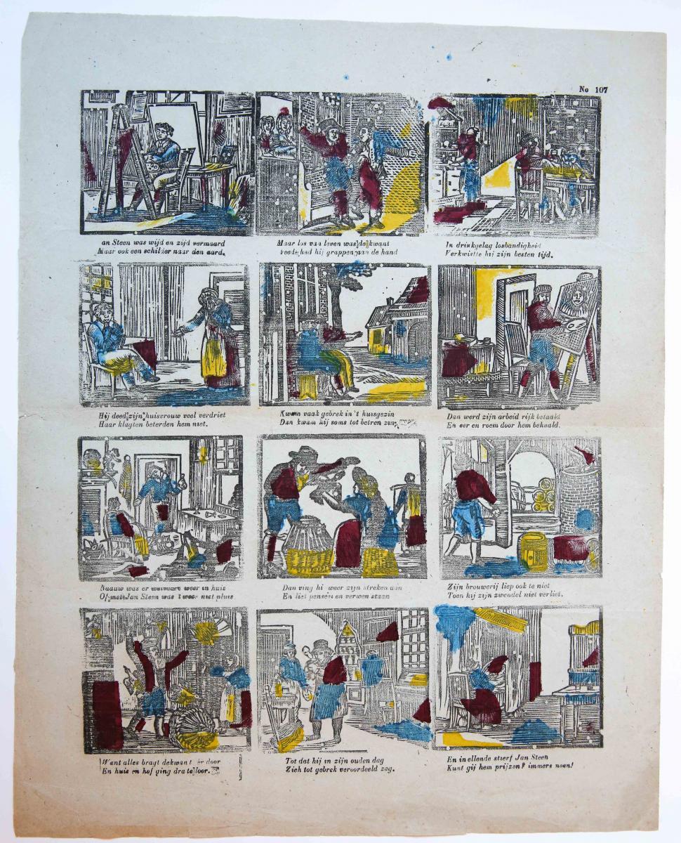 Centsprent: Jan Steen was wijd en zijd vermaard / Maar ook een schilder naar den aard. No 107.