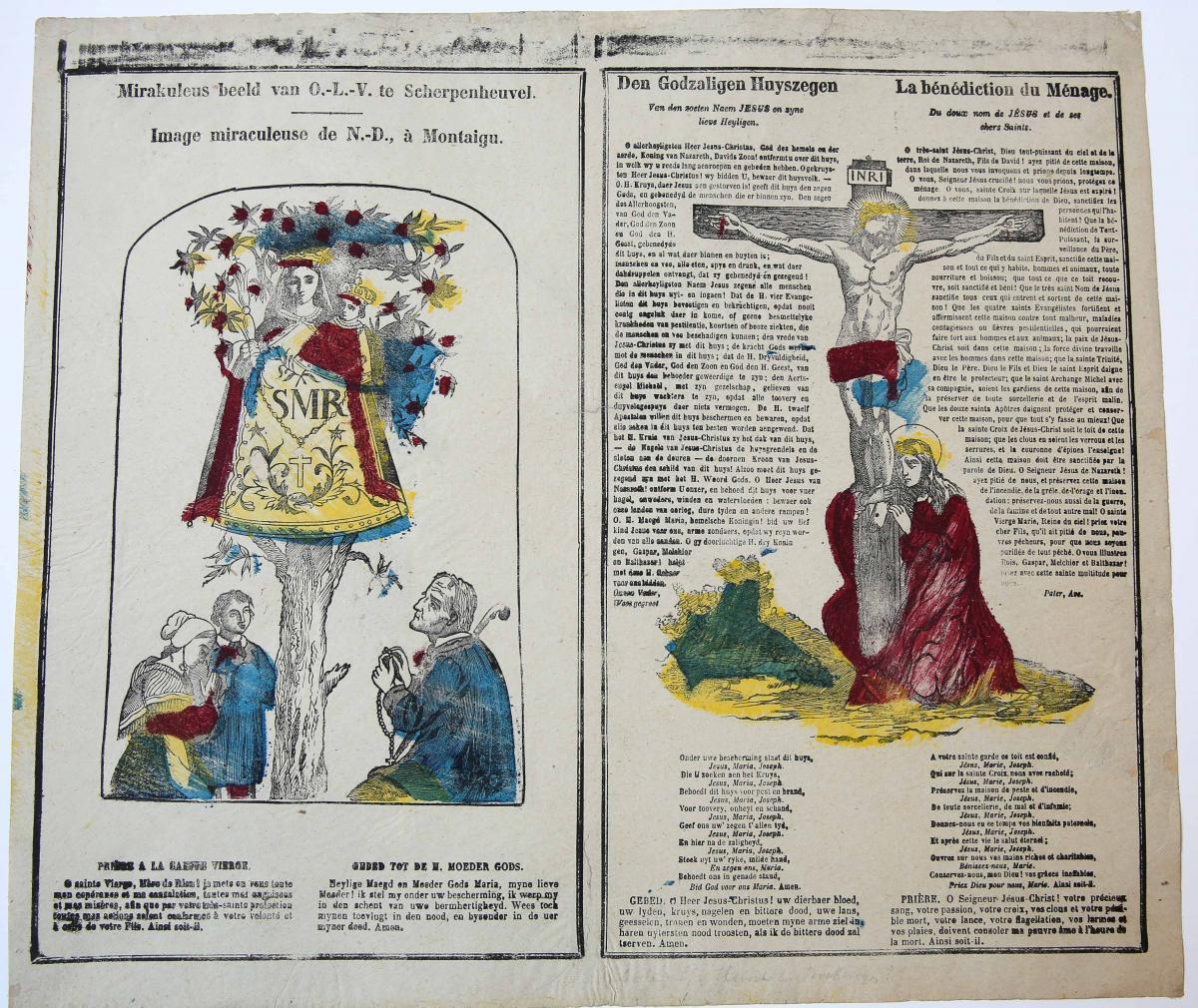 Centsprent: Mirakuleus beeld van O.-L.-V. te Scherpenheuvel / Image miraculeuse de N.-D., à Montaigu / Den Godzaligen Huyszegen / La bénédiction du Ménage.