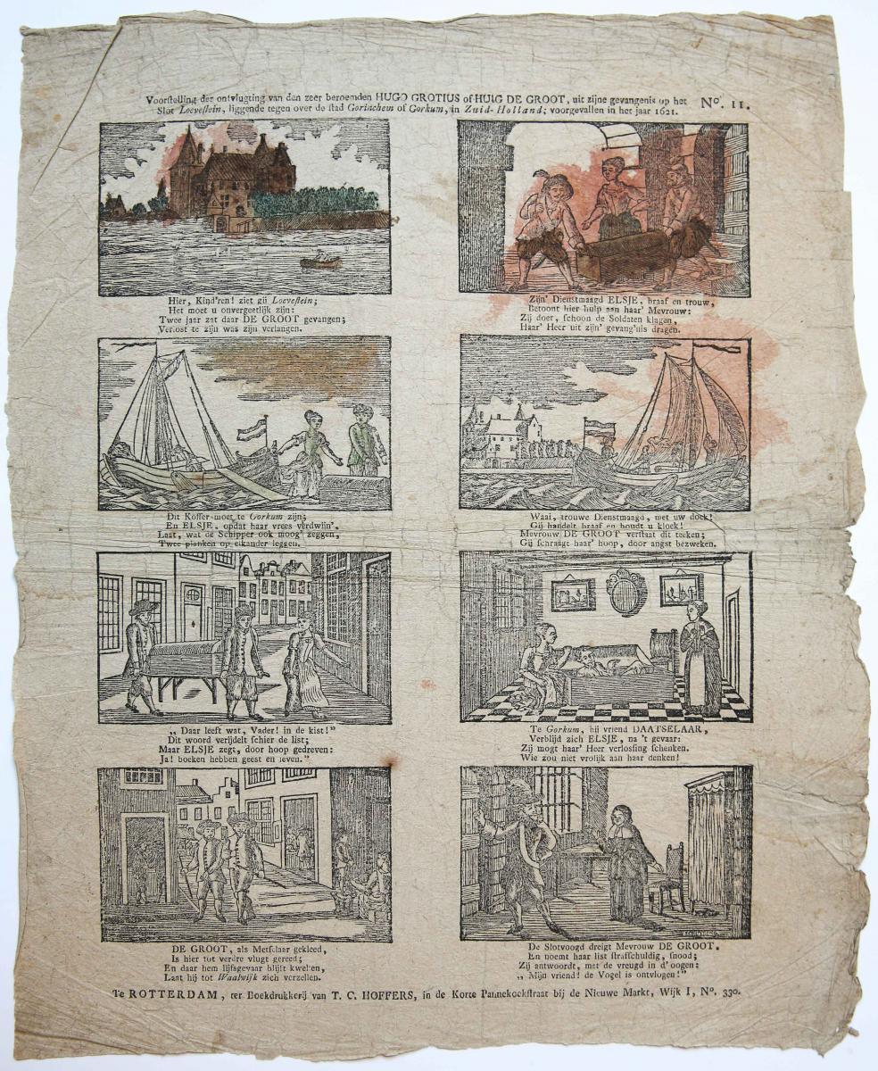 Centsprent: Voorstelling der ontvlugting van den zeer beroemden Hugo Grotius of Huig de Groot, No 11.
