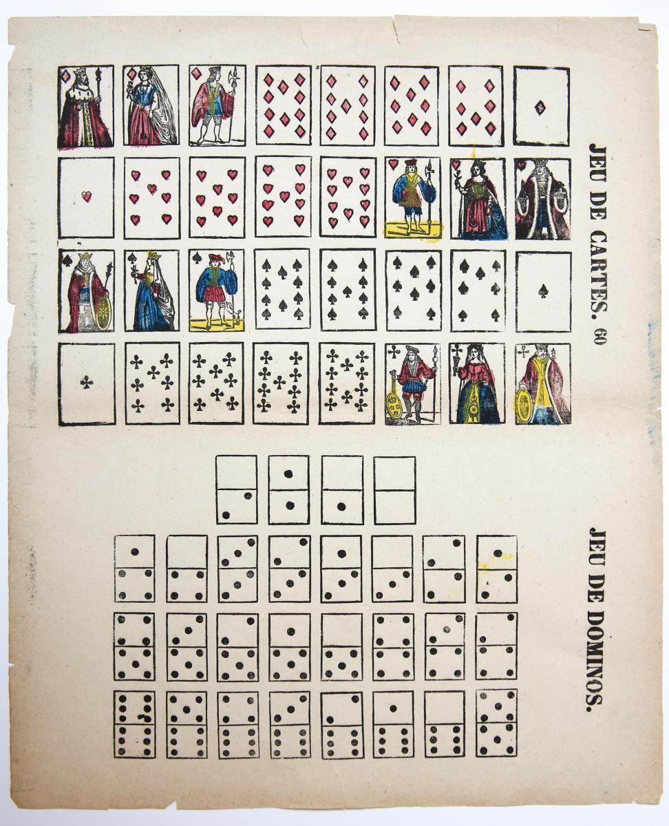 Centsprent: Jeu de Cartes / Jeu de Domino. N. 60.