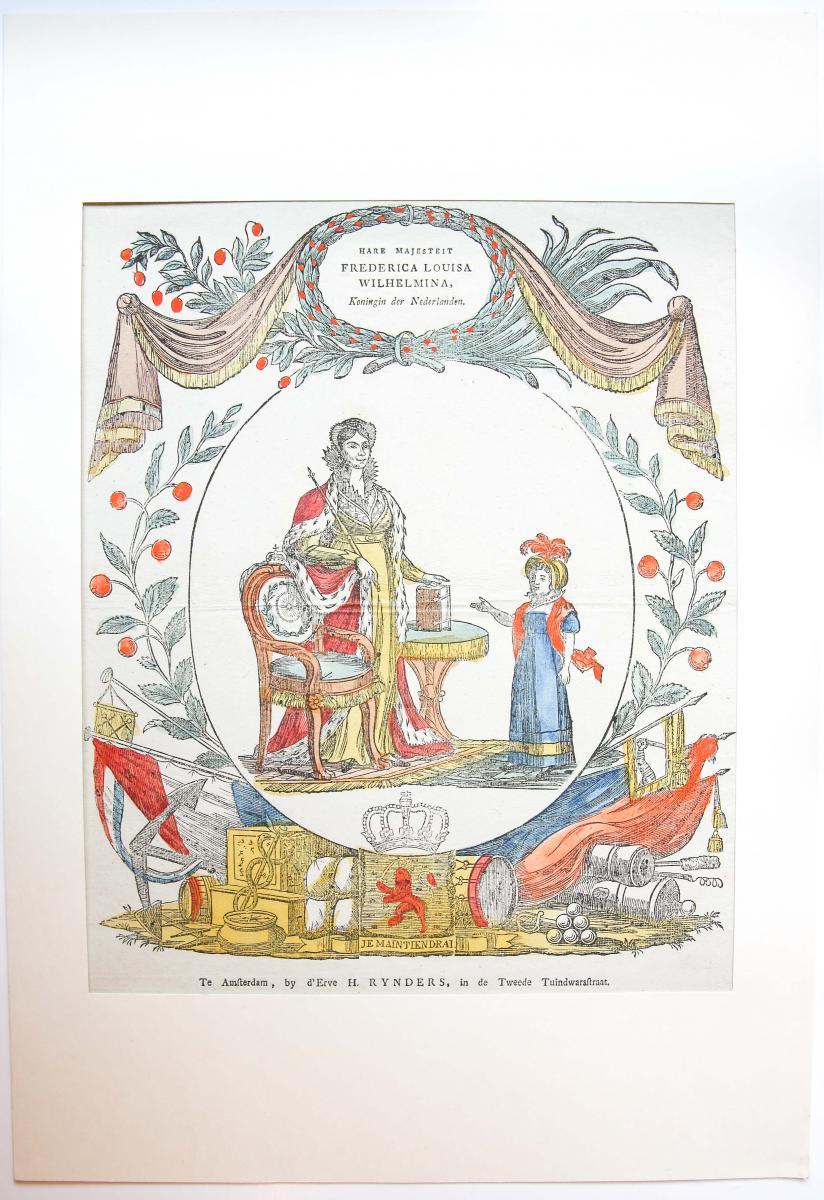 Centsprent: Hare Majesteit Frederica Louisa Wilhelmina, Koningin der Nederlanden.