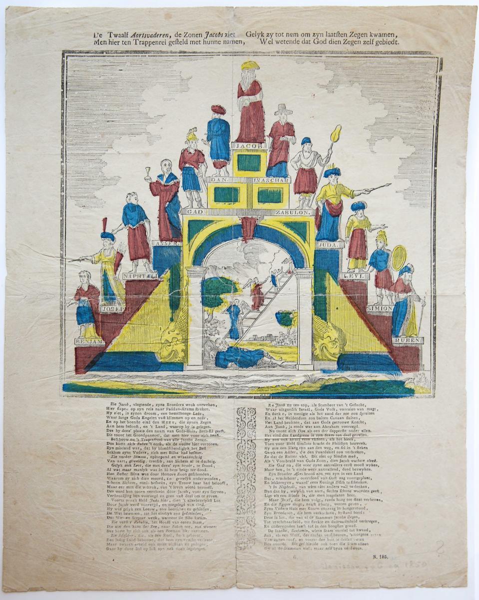 Centsprent: De twaalf Aartsvaderen, de Zonen Jacobs ziet / Men hier ten Trappenrei gesteld ... No. 185.