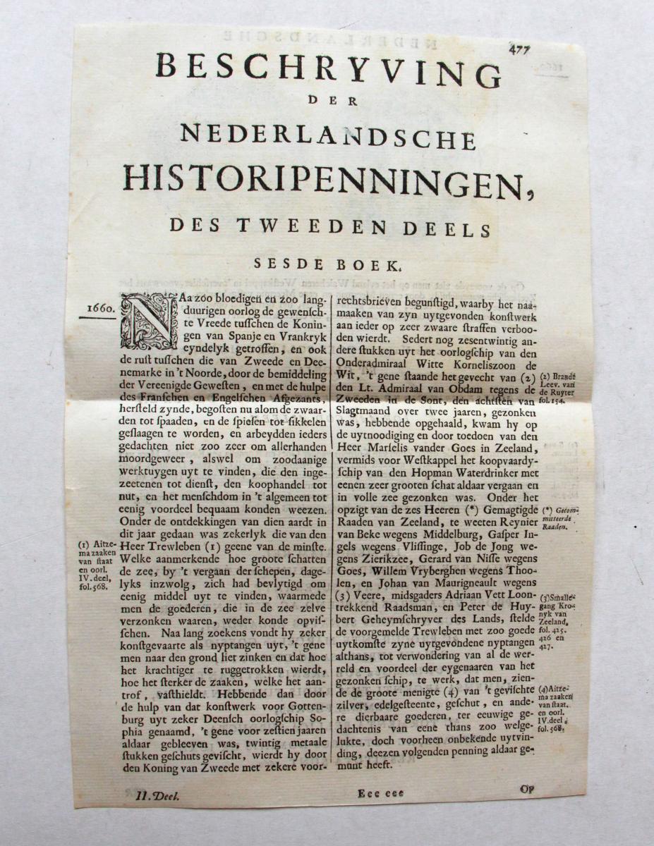 Pamphlet regarding Historical medals and Walcheren, 1660 (pamflet historiepenningen en Walcheren).