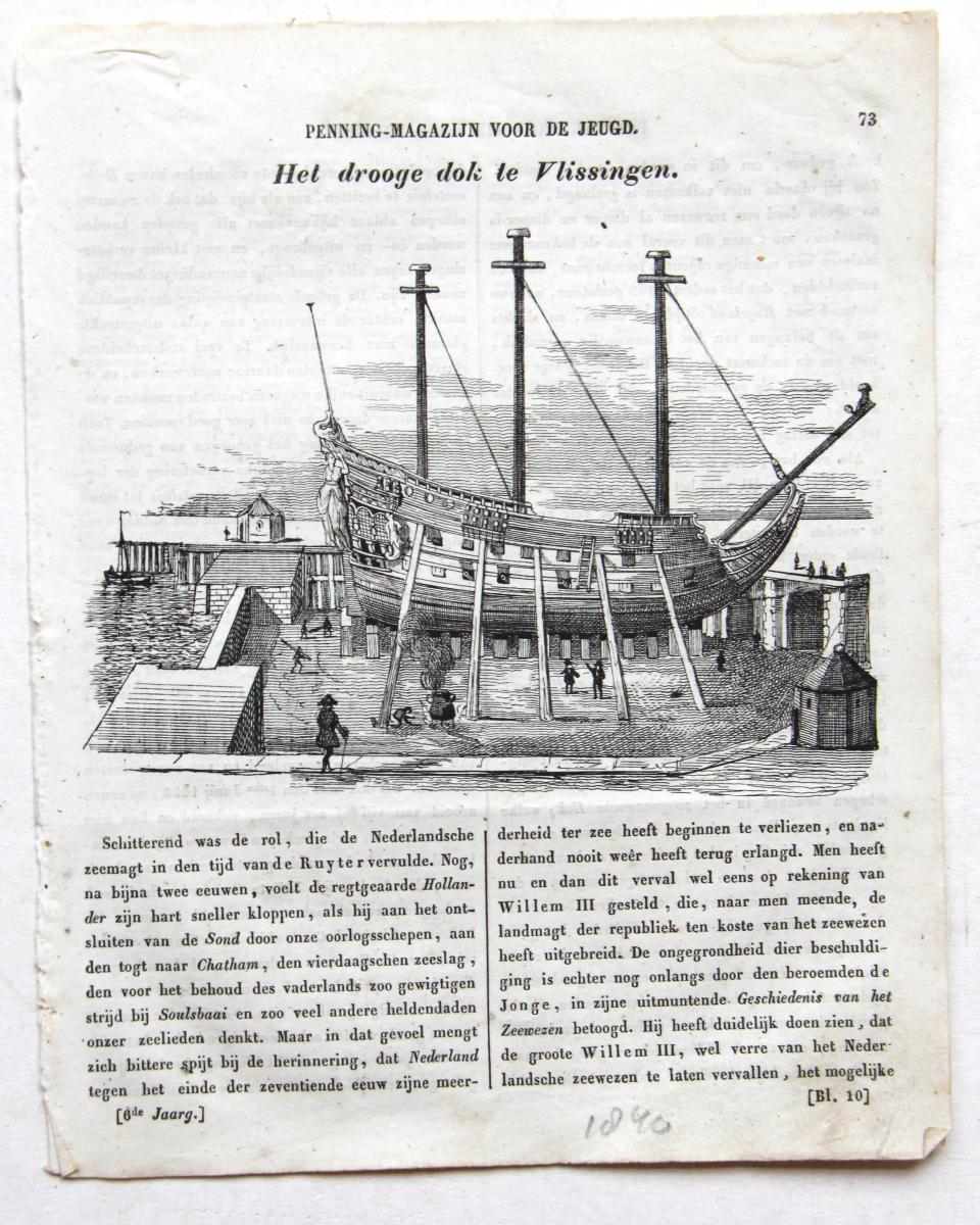 'Hollandsche Penning-magazijn voor de jeugd': Het drooge-dok te Vlissingen (dry-dock/ droogdok Vlissingen) 1840.