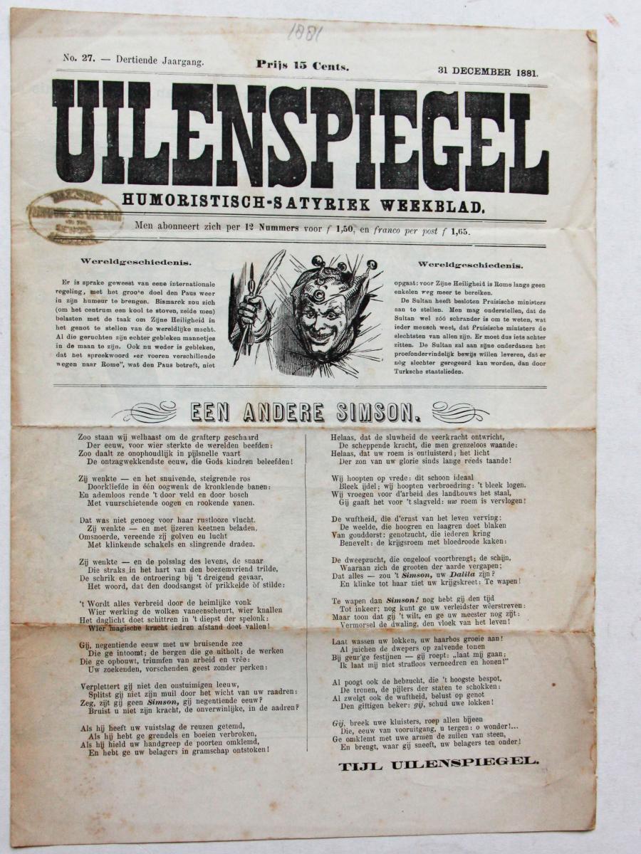 Fragment of humoristic-satirical magazine 'Uilenspiegel', 1881.