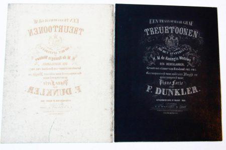 Music sheet: 'Treurtoonen' 1865.