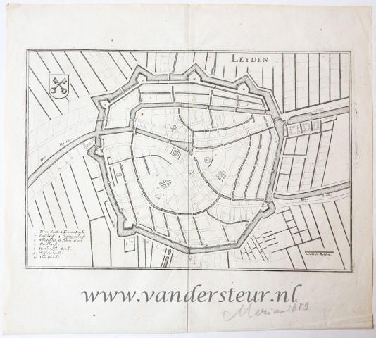 Map of Leiden (Leyde)/Kaart van Leiden (Leyden)